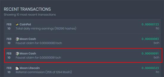 Вывод Bitcoin Cash с крана Moon на CoinPot