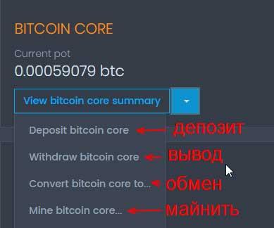Действия с криптовалютой в коинпот