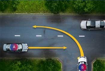 правила движения автомобилей на нерегулируемом перекрёстке